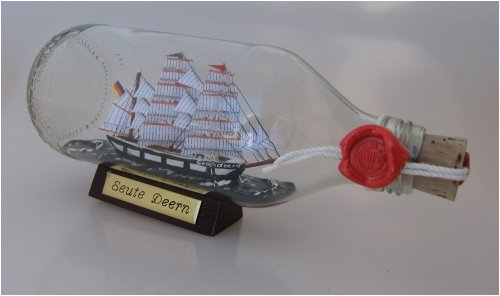 Seute Deern runde Flasche 0,3 Liter Buddelschiff Flaschenschiff