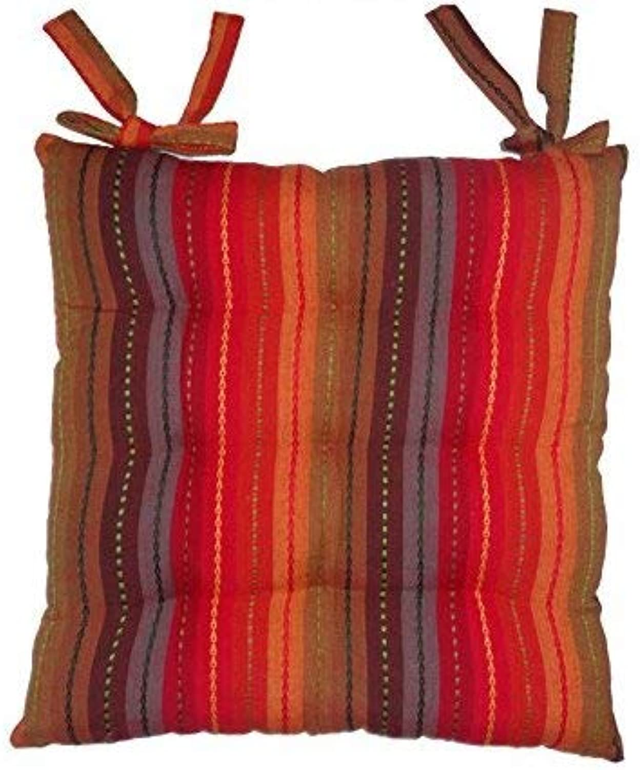 Cotton Craft - Set of 4-17x17 Inches - Red- Multi Salsa Stripe Dining Chair Pad Cushion with Ties