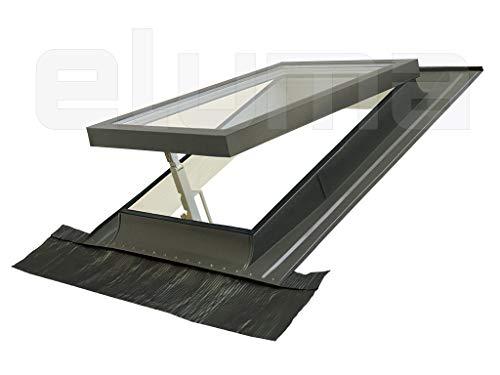 Ausstiegsfenster - modell CLASSIC VASISTAS/Dachfenster + Eindeckrahmen/Oberlicht/Doppelglas/Tannenholz und Aluminium (55x98 Breite x Höhe)