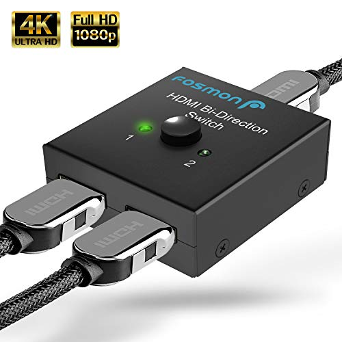 Fosmon 2-Port HDMI Switch, HDMI 2.0, 4Kx2K, 60Hz, 2x1 / 1x2 Bi-Directional Splitter Hub Switcher, 2 Input 1 Output, ondersteunt UHD 4K 3D 1080p HDCP voor Apple TV 4K, Roku Fire Stick, HDTV, PS4, Xbox