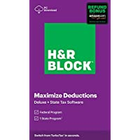 H&R Block Tax Software Deluxe+State 2020 With Refund Bonus Offer