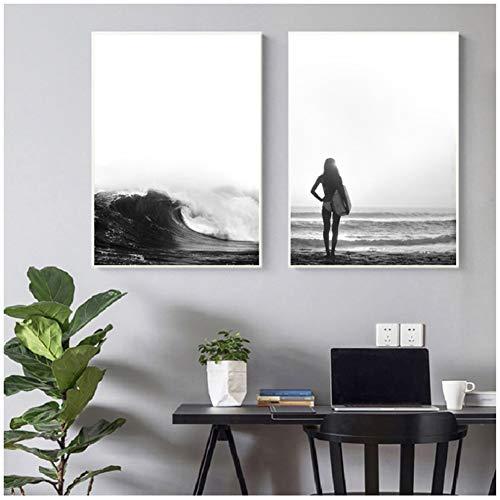 sjkkad Surf Strand Fotografie Print Wandkunst Canvas Schilderij Zwart-Wit Afbeeldingen Modern Posters Afdrukken voor de woonkamer wooncultuur - 50x70 cm Geen lijst