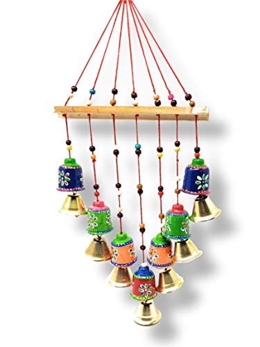 JH Gallery Handcrafted Rajasthani Wind Bell for Garden/Patio Deco/Wall Hanging/Home Décor/Home Furnishing/Diwali Gift/Corporate Gift Outdoor Sympathy Wind Chimes Gift Keepsake (Bells)(Pack of 1)