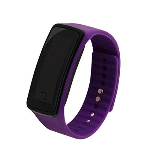 joyliveCY-Moda deportes reloj de pulsera electr¨nica LED reloj de pulsera unisex color morado de los amantes
