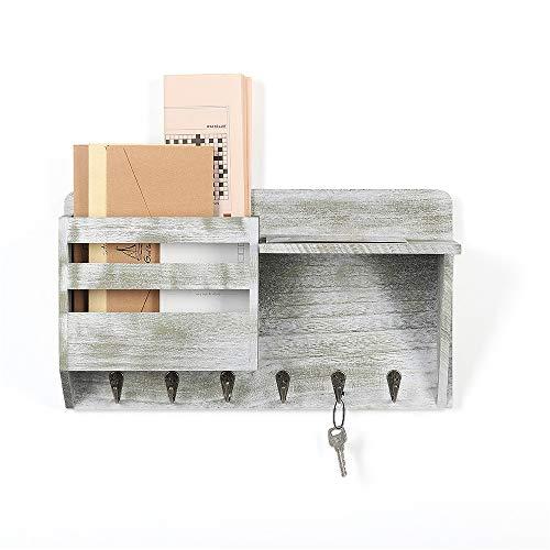 Schlüsselbrett mit Briefablage aus Holz Mail Sortierter mit 6 Schlüsselhaken für Briefen, Notizen, Schlüssel, Rustikal Grau