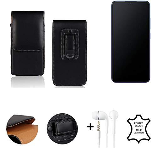 K-S-Trade® Leder Gürtel Tasche + Kopfhörer Für Vivo V11 Seitentasche Belt Pouch Holster Handy-Hülle Gürteltasche Schutz-Hülle Etui Schwarz 1x