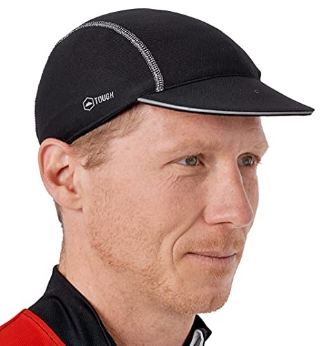 Cycling Cap - Under Helmet Bike Hat - Breathable Bicycle Helmet Liner - Biking Skull Cap for Men & Women with Reflective Sun Brim - Quick Dry & Sweat-Wicking for Riding, Running & Baseball - Black