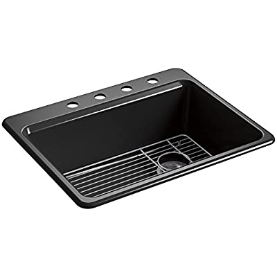 KOHLER K-8668-4A1-0 Riverby Top-Mount Single-Bowl Kitchen Sink with Bottom Basin Rack and 4 Faucet Holes