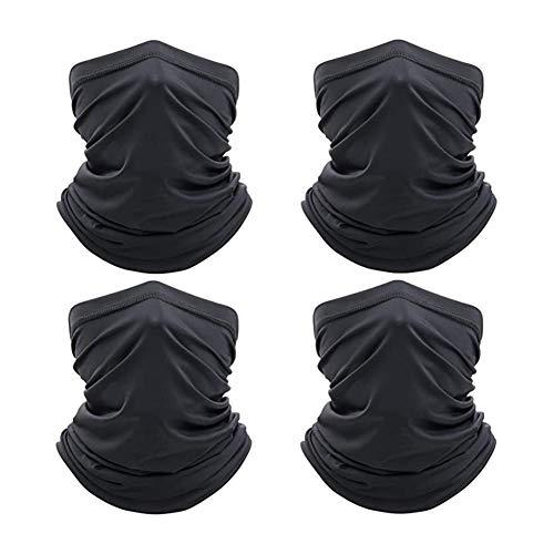 SAPE 4 Stück Multifunktionstuch Gesichtsmasken Mundschutz Schlauchschal Halswärmer Winter Halstuch für Laufen Radsport Motorradmaske Skimaske (Schwarz)