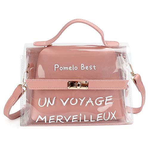 Pomelo Best Sac Messenger Mini Bandoulière Femme Cabas Sac D'épaule Sac Fourre-Tout Transparent avec bandoulière ajustable, Rose