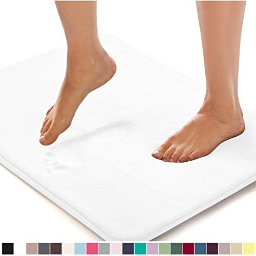 Gorilla Grip Original Thick Memory Foam Bath Rug, 24x17, Cushioned, Soft Floor Mats, Absorbent Premium's Bathroom Mat, Machine Washable, Luxury Plush Comfortable Carpet for Bath Room, Bright White