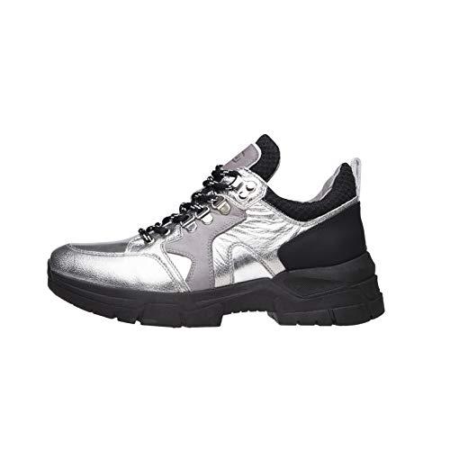 Nero Giardini A909064D Sneakers Donna in Pelle - Acciaio 40 EU