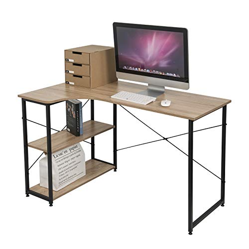 EUGAD Schreibtische Computertisch PC-Tisch Bürotisch Arbeitstisch mit Bücherregal Holz 120x74x71,5 cm