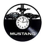 Kovides Ford Mustang Room Art Lp Vinyl Retro Record Wall Clock Exclusive Car Gift Birthday Gift for Him Mustang Clock Xmas Gift Idea Car Art