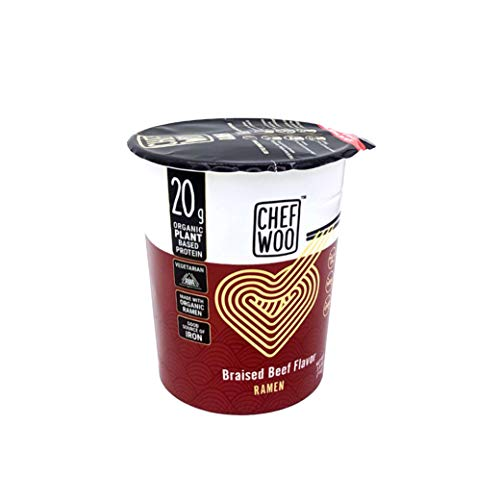 CHEF WOO Braised Beef Flavor Ramen Cup Noodles, 2.5 Oz Each (Pack Of 12) by Chef Woo | High-Protein Vegan Snacks and Meals | Halal | Kosher Protein | Egg-Free and Dairy-Free