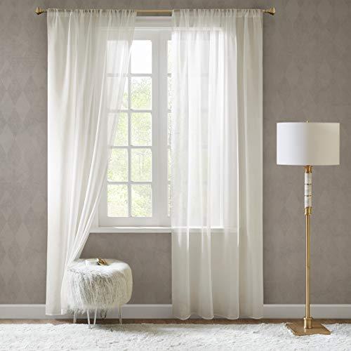 SCM Gardinen Schals in Leinen-Optik Leinenstruktur Vorhänge Schlafzimmer Transparent Vorhang für große Fenster Doris Off White, lang (2er-Set, je 245x140cm)