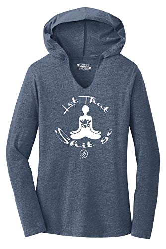 Ladies Hoodie Shirt Let That Shit Go Yoga Graphic Navy Frost L