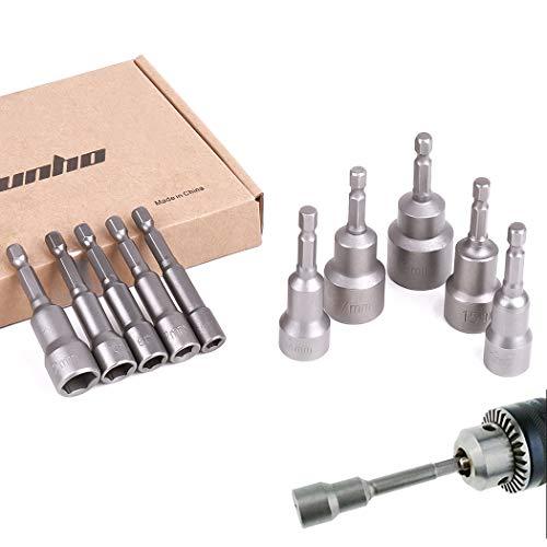 Malayas® 10 x Muttern Magnetische Bit-Adapter, 6 – 19 mm 1/4 Zoll, Innensechskant-Muttern (für Bohrer oder Akkuschrauber) – Starke Verlängerung von Bohrer-Akku (6/7/8/10/12/13/14/15/17/19 mm)