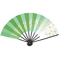 舞扇子 愛 1214-18 天の川 9寸5分 黒塗骨 扇子箱入 踊り用 (緑)