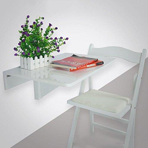 Tables HAIZHEN Pliable de Salle à Manger Drop Leaf de Travail Murale et Chaise en Bois Massif 60 * 40cm Stations de Travail informatiques (Couleur : Blanc)