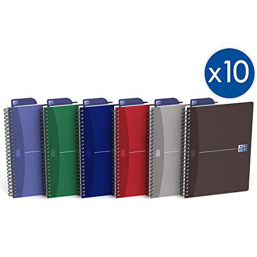 Oxford 100104869  Office Essentials - Quaderno con costa a spirale, 100 pagine, Confezione da 10, Colori assortiti