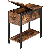 HOOBRO End Table, Flip Top Side Table with Storage Shelf, Narrow Nightstand for Small Spaces in Living Room, Bedroom, Industrial, Stable and Sturdy Construction, Rustic Brown and Black BF34BZ01
