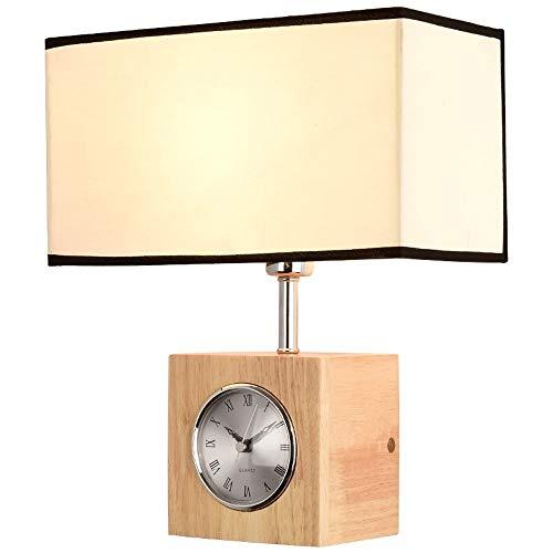 RMXMY Retro Kreative Multifunktionsuhr Holz Wandleuchte Wandleuchte Stoff Lampenschirm E27 Geeignet für Schlafzimmer Wohnzimmer Gang Hotel Resturant (Farbe : With Clock)
