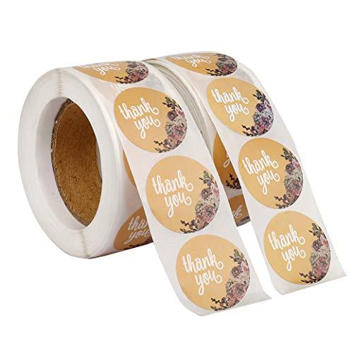 Adesivi Grazie 1000 Pezzi Adesive Rotonde Thank You Grazie Sticker Tag per Bomboniere Matrimonio Compleanno Cuocia la Decorazione 2.5 cm