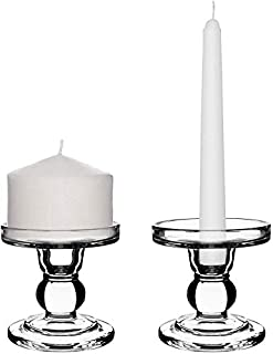 Centanni Essentials Clear Glass Candle Holders Set of 2 for Pillar Taper & Tealight Candles, Ideal for Wedding Centerpieces & Home Decor (3.5
