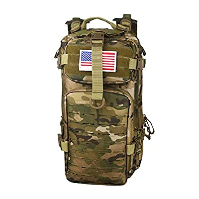Warriors Product Small Assault Backpack Military Tactical Backpack Molle Bag with Flag Patch for Outdoor (Multicam)