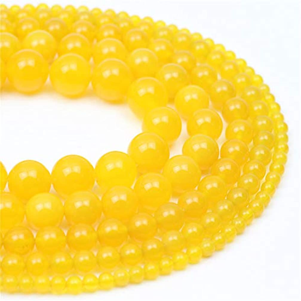 Oameusa 8mm Yellow Agate Beads Natural Round Smooth Beads Gemstone Beads Loose Beads Agate Beads for Jewelry Making 15
