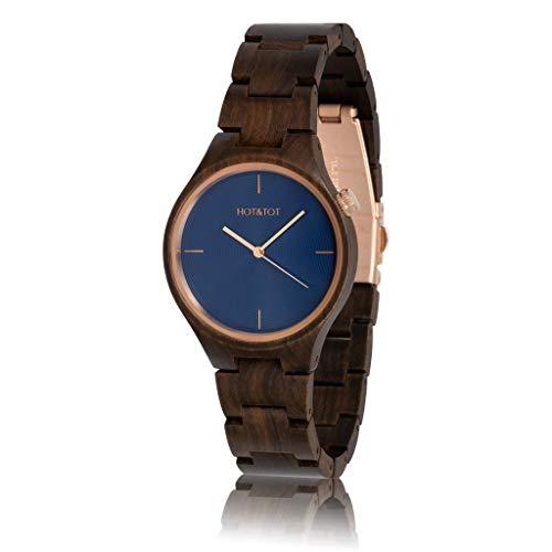 HOT&TOT Bixie - Reloj de madera (40 mm, hecho a mano), color azul, oro rosa, marrón