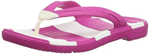 Crocs Beach Line Flip, Unisex - Erwachsene Zehentrenner, Pink (Fuchsia/White), 36/37 EU