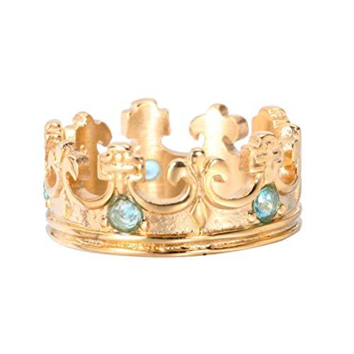 OAKKY Oro Chapado Retro Real Rey Corona Azul Claro Piedra Preciosa Incrustado Anillo Hombre Mujer Acero Inoxidable Bandas de Boda Tamaño 12