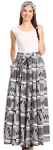 Sakkas 16317 - Asma Convertible traditioneller Wachsdruck Maxi Rock mit verstellbarem Träger | Kleid - 402-Multi-OS