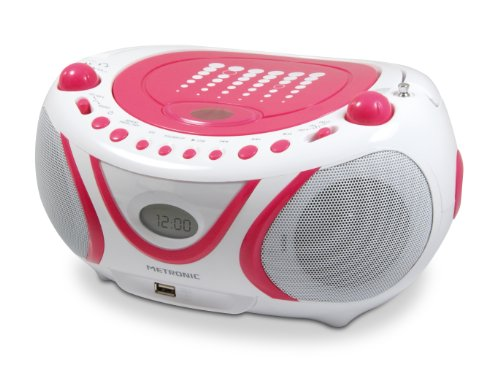 Metronic 477109 Radio / CD / MP3 portátil Pop Pink con puerto USB - Rosa y blanco