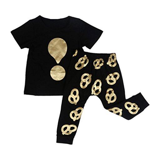 kingko® 1Réglez Infant Garçon Fille Symbole Imprimer manches courtes T-shirt Tops + Pantalons Tenues Vêtements (24M)