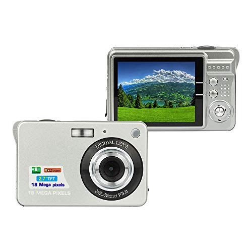 HD Digital Camera 2.7 LCD Rechargeable HD Digital Camera Compact Camera Pocket Digital Cameras 24 Mega Pixels with Zoom for Students/Adults (Silver)