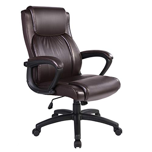 Qulomvs Executive Office Chair with arms High Back Computer Ergonomic Desk Chair 300lbs PU Leather Task Chair 360 Swivel with Wheels (Brown)