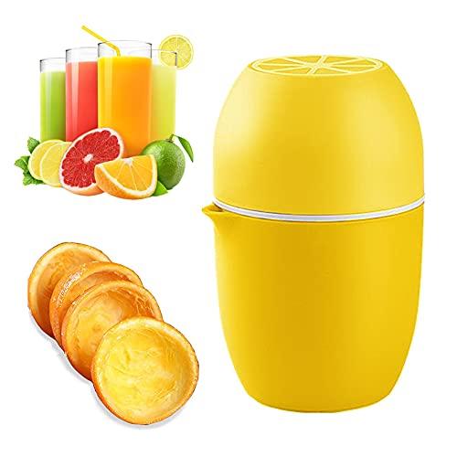 Punvot Exprimidor manual de cítricos exprimidor manual exprimidor de cítricos pequeño con recipiente, exprimidor de naranjas con dos posiciones, exprimidor de limones para naranja