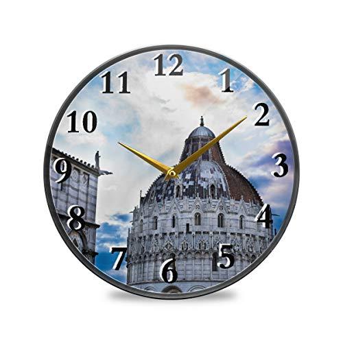 iRoad Acryl-Wanduhr, Aquarell, italienischer Pisa-Turm, geräuschlos, batteriebetrieben, Wanduhr für Wohnzimmer, Schlafzimmer, Heimbüro, multi, 11.9x11.9in