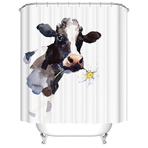 Fangkun Duschvorhang – Kuh Farmhouse Tier Malerei Kunst Badezimmer Dekor Set – Polyester Stoff Badvorhänge – 12 Duschhaken – 182,9 x 182,9 cm