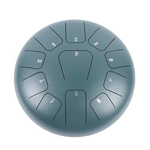 Tambor de mano de acero de 12 pulgadas, 11 tonos, instrumento de percusión, sartén de acero, color verde