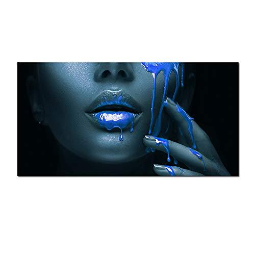 Bzdmly Modern Home Decor Zwarte Afrika Vrouw Blauwe Lip Portret Canvas Schilderij Posters en Prints Muurkunst Foto voor Woonkamer-60x120cm Geen Frame