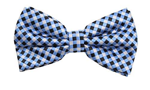 Fabio Farini - Elégant nœud papillon à carreaux pour hommes pour toutes les occasions comme le mariage, la confirmation, le bal Bleu Argent Gris Noir