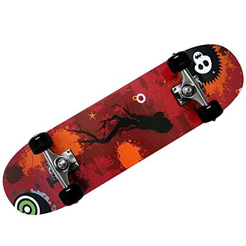 Deuba Atlantic Rift Skateboard Skate Board Komplettboard Deck Funboard Holzboard ABEC 9 80x24cm Ahornholz orange -【Farbauswahl】