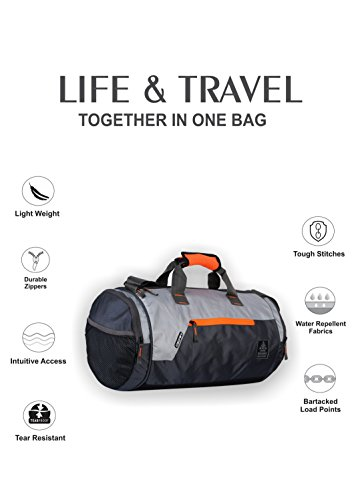 Gear Black and Orange Casual Backpack (BKPCARYON0106) and Polyester 38 Cms Grey Travel Duffle (DUFCRSTNG0406)