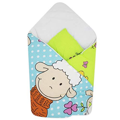 BlueberryShop manta de algodón para envolver al bebé en el coche| Saco de dormir para bebés recién nacidos | Para bebés de 0-3 meses | Regalo perfecto para Baby Shower | 78 x 78 cm | Azul Oveja