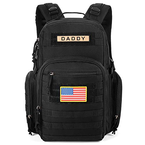 ESPIDOO Diaper Bag Backpack for Dad, Military Backpack with Molle System, Large Travel Baby Bag Backpack for Men, Black