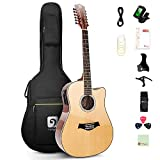 Vangoa 12 String Gutiar, Acoustic-electric Cutaway Dreadnought Guitar Bundle, Spruce Top, Sapele Body, Bone Nut, Natural, Gloss (VA20CE...